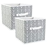 DII Fabric Storage Bins for Nursery, Offices, & Home Organization, Containers Are Made To Fit Standard Cube Organizers (11x11x11') Herringbone Gray - Set of 2