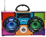 Mini Boombox with LED Speakers - Retro Multi Colored
