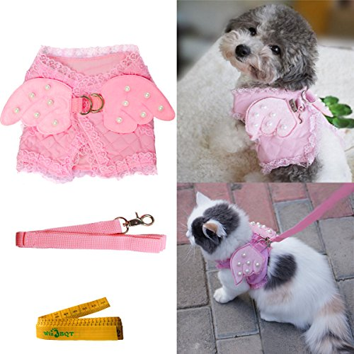 Pink Cute Adorable Pet Cat Dog Harness and Leash Set with Lace Artificial Pearl Angel Wing 1