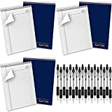 AMPAD Gold Fibre Project Planner, Top-Wire Bound, 8-1/2' x 11-3/4', Project Rule, Navy Cover, 70 Sheets (20-815) 6 Count with Black inc Pen 18 Count