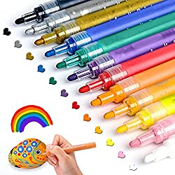 Acrylic Paint Pens for Rocks Painting, Ceramic, Glass, Wood, Fabric, Canvas, Mugs, DIY Craft Making Supplies, Scrapbooking Craft, Card Making. Acrylic Paint Marker Pens Permanent.12 Colors/Set