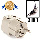 European Power Adapter Plug by Orei, Perfect for Travel To Europe, Germany, France, Spain, Norway, Korea - Universal Socket - Type E/F Outlet - 2 Inputs - Safe Grounded Connection