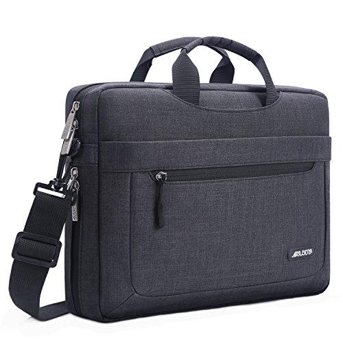 MOSISO Laptop Shoulder Bag Compatible 15-15.6 Inch MacBook Pro, Ultrabook Netbook Tablet with Adjustable Depth at Bottom, Polyester Messenger Briefcase Carrying Handbag Sleeve Case Cover, Black