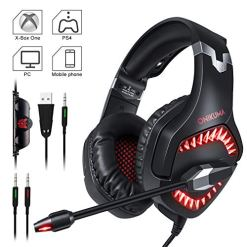 51L1iwvpgFL - Gaming Headset, ONIKUMA PS4 Gaming Headset 3.5mm Stereo Gaming Headphones with Noise Canceling Mic for Xbox one Computer Laptop Mac PC Smartphone