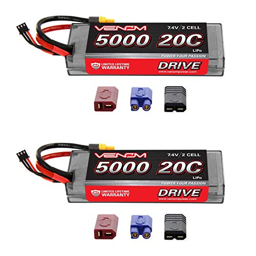 Venom 20C 2S 5000mAh 7.4V Hard Case LiPo Battery with Universal Plug (EC3/Deans/Traxxas/Tamiya) x2 Packs