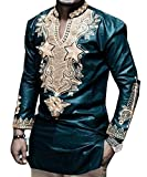 Bbalizko Mens African Print Long Sleeve Stand Collar Slim Fit Dashiki Shirt Tops Blackish Green