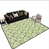 Home Custom Floor mat,Horoscopes Zodiac Symbols Green Tones Pisces Scorpio Leo Libra Icons 6'x8',Can be Used for Floor Decoration