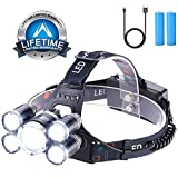 Headlamp 12000 Lumen Ultra Bright CREE LED Work Headlight USB Rechargeable, 4 Modes Waterproof Head Lamp Best Head Lights for Camping Hiking Hunting Outdoors