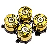PS4 Bullet Buttons Gold Silver Made Using Real Once Fired 9MM Bullet Casings - Designed for PS4 PS3 and PS2 Controllers
