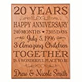 LifeSong Milestones Personalized 20th Ideas for Couple, Happy 20 Year Wedding Gift for Her and him Family Established Dates to Remember 12' W X 15' H (Cherry Solid Wood)