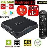 X96 MAX 2GB 16GB Android TV Box 4K JIO TV HotStar Netflix YouTube Miracast & More, 2.4G WiFi Smart TV Android Box Mini PC