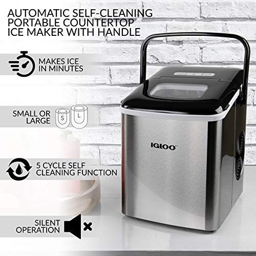Igloo Iceb26hnss Automatic Self Cleaning Portable Electric Countertop Ice Maker Machine With Handle 26 Pounds In 24 Hours 9 Ice Cubes Ready In 7 Minutes With Ice Scoop And Basket Stainless Priparax Com