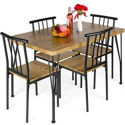 Best Choice Products 5-Piece Metal and Wood Indoor Modern Rectangular Dining Table Furniture Set for Kitchen, Dining…