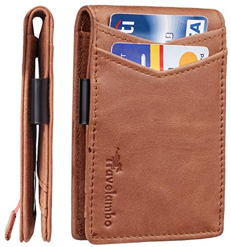 Travelambo Mens RFID Blocking Front Pocket Minimalist Slim Genuine Leather Wallet Pull Tab Money Clip (Vintage Brown)