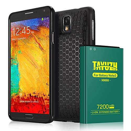 TAYUZH Note 3 Battery | 7200mAh Li-ion Replacement Extended Battery & Back Cover & TPU Case Compatible Samsung Galaxy Note 3 N9000, N9005, N900A, N900V, N900P, N900T - 24 Month Warranty