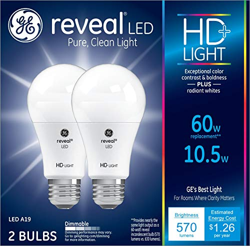 GE Lighting 98595 Bulb Reveal HD Pure Clean Light Dimmable LED A19 10.5 (60-Watt Replacement), 570-Lumen Medium Base, 2-Pack, Piece