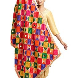 The Home Factory Women's Chiffon Mirror Work Phulkari Dupatta (THF221, Multicolour, Free Size)