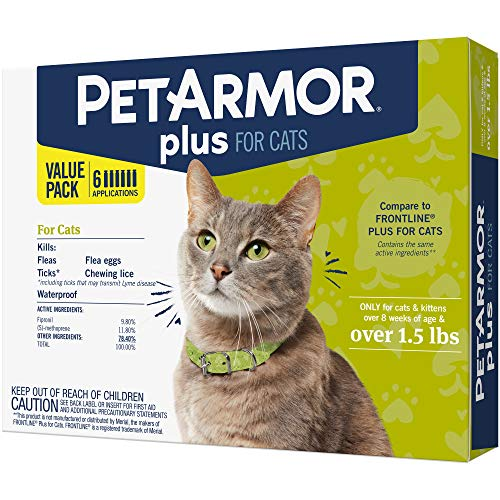 PETARMOR Plus for Cats, Flea & Tick Prevention for Cats (Over 1.5 Pounds), Includes 6 Month Supply of Topical Flea Treatments