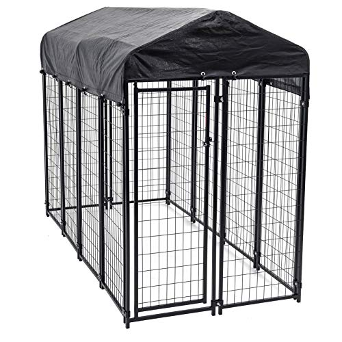 Heavy Duty Dog Cage – Lucky Dog Outdoor Pet Playpen – This Pet Cage is Perfect For Containing Small Dogs and Animals. Included is a Roof and Water-Resistant Cover (4'W x 8'L x 6'H)