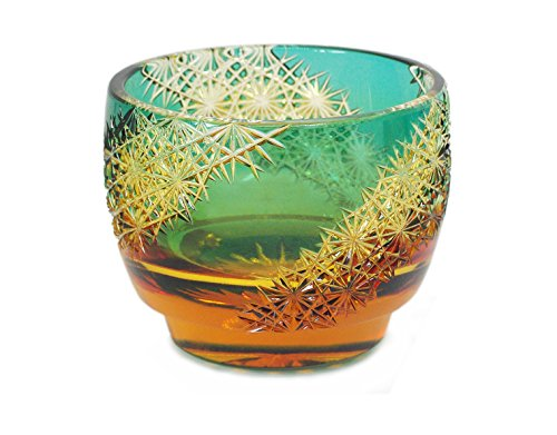 Ohba Glass Cut sake glass 江戸切子 Edo Kiriko, Japanese Traditional Craft in Gift Box 光る宙 Milky Way (Green/Amber)