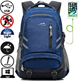 Backpack Bookbag For School College Student Travel Business With USB Charging Port Fit Laptop Up to 15.6 Inch Anti theft Night Light Reflective (Navy Blue)