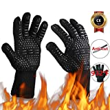 MOAMI 932°F Grill Gloves Heat Resistant, BBQ Gloves Extreme Heat Resistant Non-Slip, Kitchen Safe Cooking Gloves, Advanced Heat Resistant Gloves, Oven Gloves Heat Resistant with Fingers(Black)