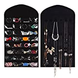 Hanging Jewelry Organizer, Jewelry Bags Travelling Accessory Organizer Double Sided Non-Woven 32 Pockets 18 Loops (Black)
