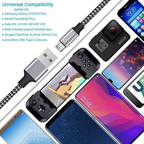 USB Type C Cable 3A Fast Charging, TAKAGI (3-Pack 6feet) USB-A to USB-C Nylon Braided Data Sync Transfer Cord Compatible with Galaxy S10 S10E S9 S8 S20 Plus, Note 10 9 8 and Other USB C Charger 18