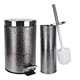 Elaine Karen Deluxe 2 pc Toilet Brush and Garbage Can Set - Hammered Stainless Steel