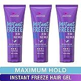 Aussie Instant Freeze Sculpting Maximum Hold Hair Gel with Jojoba Oil, Sea Kelp and Australian Aloe, 7 Oz (Triple Pack)(Packaging May Vary)