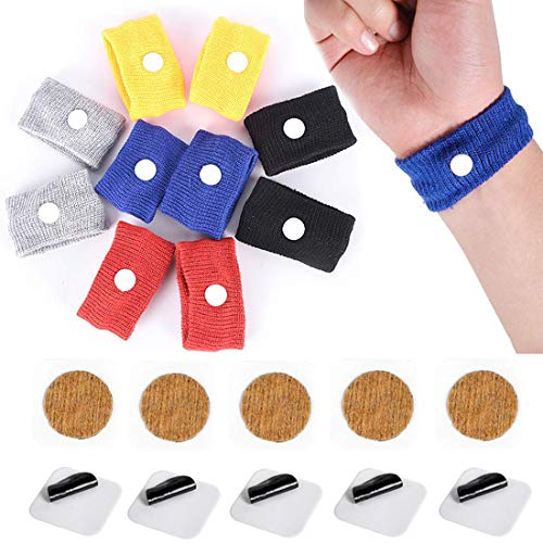KONGDY 10 Pcs Sea Motion Sickness Wrist Bands & 10 Counts Motion Sickness Patch for Cruise, Morning Sickness, Travel & Car Sickness, No drowsy Anti-Nausea Pads