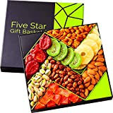 Five Star Gift Baskets, Holiday Fruit and Nuts Gift Basket - Gourmet Food Gifts - Mothers & Fathers Day Fruit Gift Box Assortment, Men, Women, Families