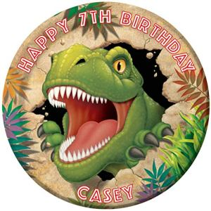Dino Blast Dinosaur Party Personalized Cake Topper Icing Sugar Paper 7.5″ image m15 51LJWEvDatL