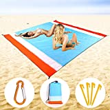 OSKIDE Sand Free Beach Blanket, Waterproof - Quick Drying - Portable Compact Lightweight Beach Mat, 7 Person [ 82' x79'] Large Beach Blanket, for Outdoor/Beach/Camping/Picnic/Hiking, Machine Washable