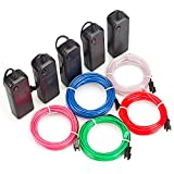 Zitrades El Wire Red Blue Green White Pink 9ft - Neon Glowing Strobing Electroluminescent Wires for Cosplay Dress Halloween Party Decoration Indoor Ourdoor