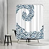 Americanflat Whale Wave Shower Curtain by by Elena Oneill, 74' x 71' x 0.1'