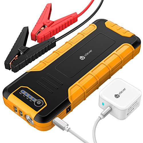 [PD 30W Quick Charger] iClever 800A Peak 20000mAh Car Jump Starter, Power Delivery 30W USB Type-C Power Bank with Dual USB 3.0 Quick Charging for Nintendo Switch, MacBook 2015/2016, USB Type C Laptop