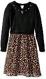 Youngland Girls' Little Sweater Knit Dress with Chiffon, Black/Multi, 6