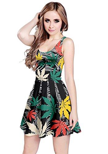 CowCow Womens Black Colorful Pattern Cannabis Marijuana Sleeveless Dress, Black - XS