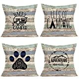 Royalours Camping Happy Camper Pillow Covers Cotton Linen Rustic Wood Background Inspirational Words Lettering Throw Pillow Cases Cushion Cover Home Sofa Office Decor 18' x 18' Set of 4 (Wood Camper)