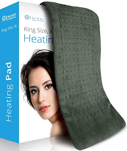 XL Heating Pad - Electric Heating Pad for Moist and Dry Heat Therapy - Fast Neck/Shoulder/Back Pain Relief at Home - 12' x 24', GENIANI (Tabby Gray) (Navy Gray)