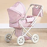 Olivia's Little World Deluxe Doll Pram | 16' Baby Doll Stroller with Carriage Bag, Pink/Grey