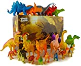 24 Jurassic Dinosaur Toys For 3, 4, 5, 6, 7 year old Boys Girls Toddlers Kids - Party Favors & Supplies- Plastic Action Figures for Bath Toys, Pool Toys & Pretend Play - STEM Learning Dino Set