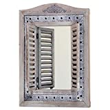 WHW Whole House Worlds Americana Rustic Farmhouse Mirror with Shutters, Vintage Gray, Distressed Metal Border of Braided Flowers, Sustainable Wood, Glass and Metal, 21 3/4 x 1 1/4 x 28 3/4 Inches