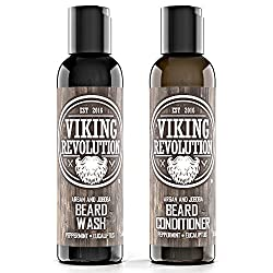 Viking Revolution Beard Wash & Beard Conditioner Set w/Argan & Jojoba Oils – Softens, Smooths & Strengthens Beard Growth - Natural Peppermint and Eucalyptus Scent - Beard Shampoo w/Beard Oil (5 oz)  Image