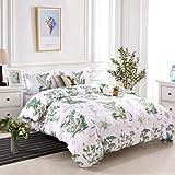 YMY Lightweight Microfiber Bedding Duvet Cover Set, Colorful Floral Pattern (Green Flower, Queen)