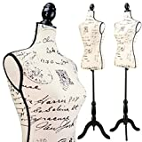 Female Postage print vintage-style fabric Mannequin Dress Form (On Black Tripod Stand)