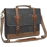 Messenger Bag for Men 15.6 inch Waterproof Waxed Canvas Genuine Leather Briefcase Computer Laptop Bag Large Satchel Shoulder Bag Grey