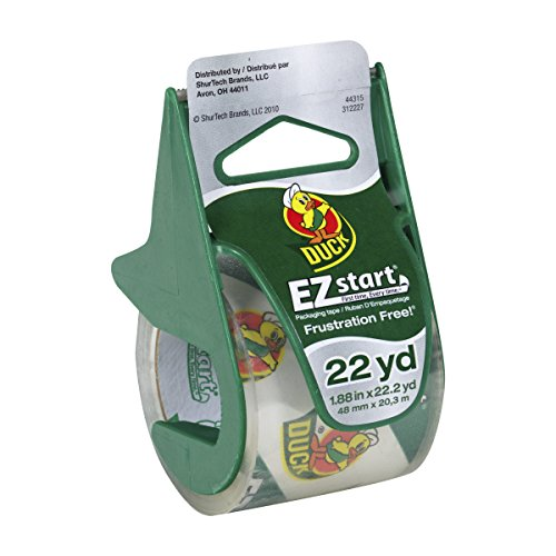 Duck Brand EZ Start Packing Tape With Dispenser, 1.88 Inch x 22.2 Yard, Clear, 1 Roll (393185)