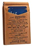 Wife to Husband Gift Slim Wallet Card Holder Best Valentine Father Gifts for Him Brown
